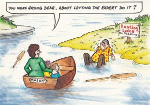 Daisy Canoe Paddle Oars Rowing Boat Baoting Lake Disaster Comic Humour Postcard