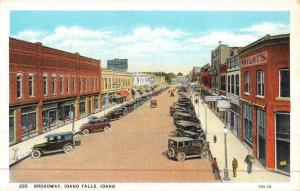 Idaho Falls Idaho Broadway Street Scene Birdseye View Antique Postcard K47125