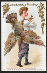 Thanksgiving Blessings Young Man & Dead Turkey Over His Shoulder Used c1910s