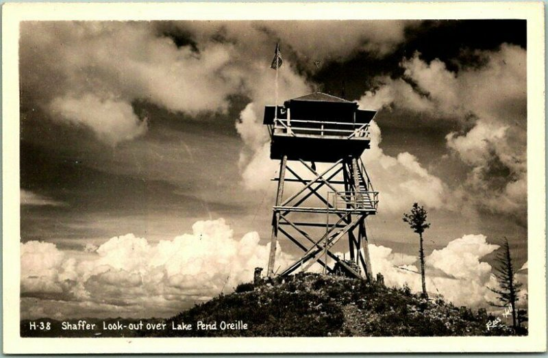 Lake Pend Oreille, Idaho RPPC Photo Postcard Shaffer Look-Out Tower View 1940s