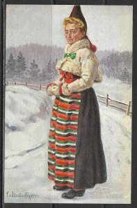 Sweden - Woman In Traditional Costume - [FG-215]