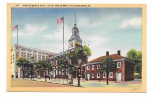PA Philadelphia Independence Hall Vintage Curteich Linen Postcard