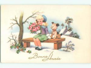 foreign Old Postcard ADORABLE DOG ON BENCH WITH CUTE FRENCH GIRL AC3766