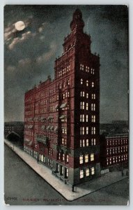 Toledo Ohio~Nasby Building on a Full Moon Sky~Night Workers~c1910 Postcard/PC