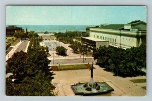 Cleveland Oh- Ohio, Public Mall, War Memorial, Fountain, Chrome Postcard