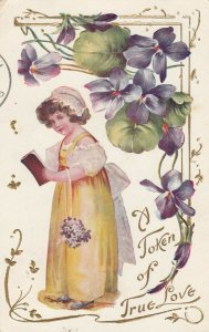 A Token of True Love, 1900-10s; Girl & Flowers