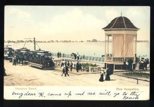 Hampton Beach, New Hampshire/NH Postcard, View Of Shore, Trolleys, 1912