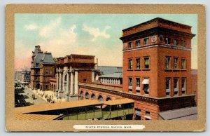 Boston Massachusetts~North Station Sky Walk~c1910 Gold Border Postcard