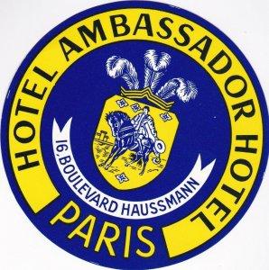 France Paris Hotel Ambassador Vintage Luggage Label sk1017