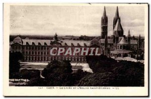Old Postcard Caen Lycee And The Church of Saint Etienne
