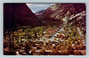 Ouray CO- Colorado, Aerial View of Ouray, Encircled by Mountains,Chrome Postcard