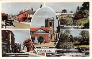 Middlewich, The Bullring Church Wheelock Bridge Lewin Street Vintage Car