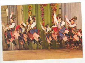 NATIVE FOLK DANCE = Men in Traditional Dress Leap while Dancing the Mazur,Mas...