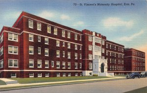 St. Vincent's Maternity Hospital, Erie, PA, Early Linen Postcard, Unused