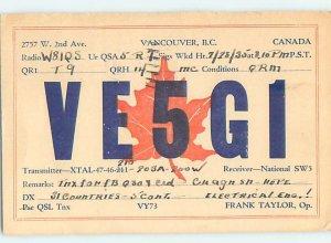 1930s QSL RADIO CARD Vancouver British Columbia BC AH3282