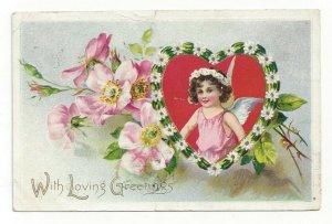 TUCK #10, PU-1908; VALENTINE, Cherub in heart shaped frame of Daisies