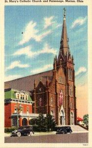 Ohio Marion St Mary's Catholic Church and Parsonage 1944