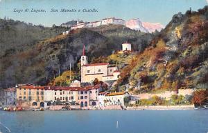 Italy Old Vintage Antique Post Card Lago di Lugano San Mamette e Castello Unused