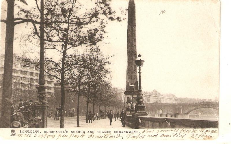 London,Cleopatra's Needle and Thames Emankme Tuck Town and City Ser. PC # 2002