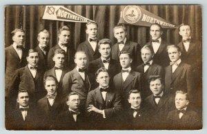 Fergus Falls MN Northwestern Synod College~1917 Glee Club~Banners~RPPC Postcard
