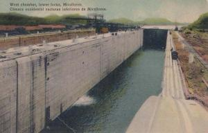 Miraflores West Chamber Canal Lower Locks Dock Tunnel Antique Postcard