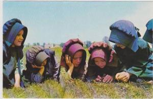 Young Amish Girls Reclining in Grass During School Recess, Pennslyvania Dutch...