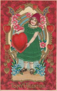 VALENTINE'S DAY , Girl holds a heart , Green Silk Dress , 00-10s