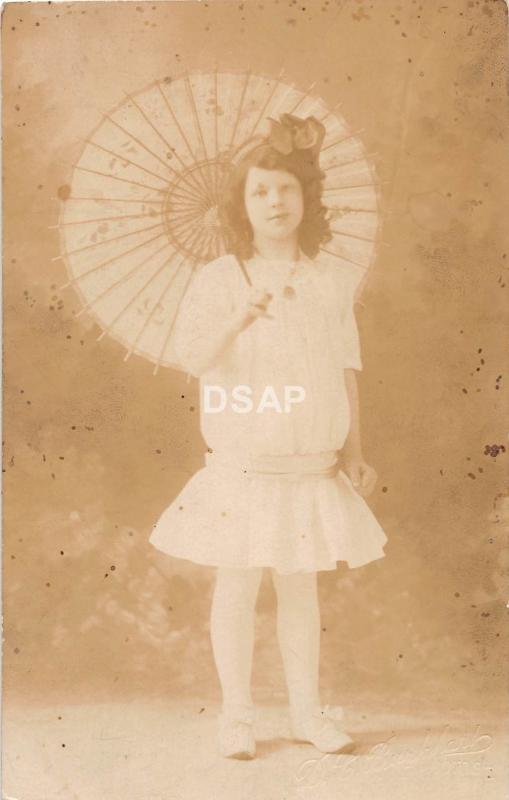 C70/ Boise Idaho Id Real Photo RPPC Postcard c1910 Beautiful Girl Umbrella