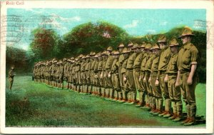 Vtg 1916 Postcard WWI Doughboys Lined Up For Mess