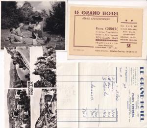 Souillac Grande Hotel France Receipt Picnic Postcard Ephemera Bundle