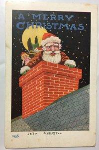 A Merry Christmas Santa Postcard 1907 Ullman Old Nick Series Chimney Doll Toys