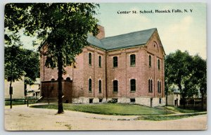 Hoosick Falls NY~Center St School~Arch Doors Hidden by Covered Entryway~c1910 PC