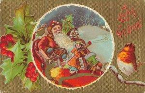 Merry Christmas Embossed Postcard Mistletoe Santa Claus in Car. 03.92