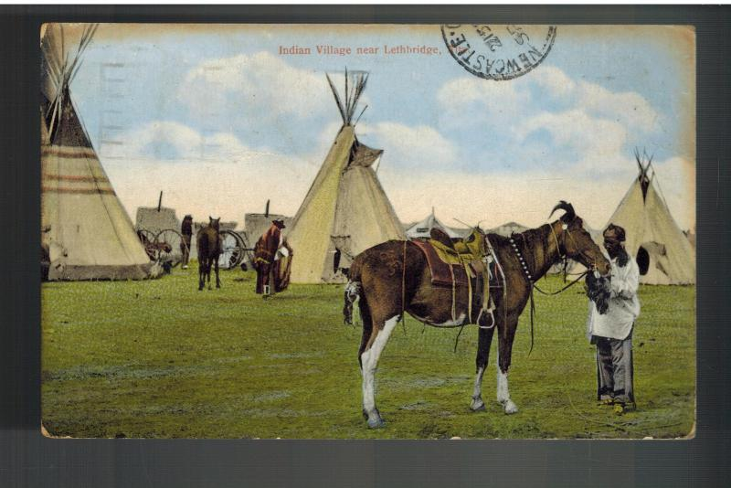 1912 Picture Postcard Cover Native American Indian Canada Horse teepees