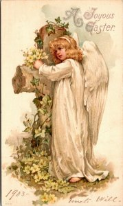 Easter Angel A Joyous Easter - 1903 - Vintage - POSTED - POSTCARD