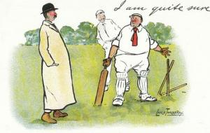 Lance Thackeray I Am Quite Sure 1970s Cricket Comic Humour Postcard