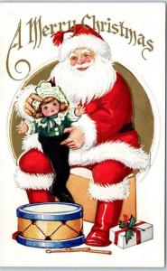 Vintage Christmas Postcard SANTA CLAUS Stuffing Doll into Stocking - Dated 1924