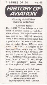 Trade Card Brooke Bond Tea History of Aviation black back reprint No 49 TriStar