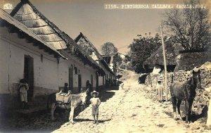 Pintoresca Calleja. Jacala. HGO Mexico Real Photo Postcard