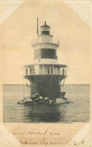 C-1905 Peck's :Ledge Light Norwalk Harbor Connecticut undivided Postcard 11315