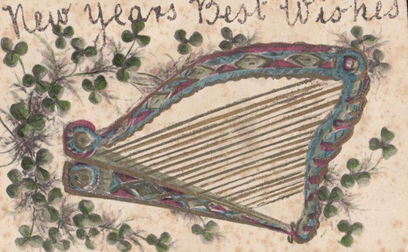 Musical Harp REAL GLITTER ANTIQUE Postcard