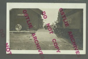 Alden IA RPPC 1910 DEPOT TRAIN STATION nr Hampton Iowa Falls Dows Ackley Eldora