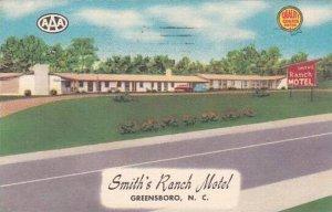 North Carolina Greensboro Smiths Ranch Motel 1959 Albertype