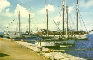 seychelles, Long Pier with Sailing Boats (1950s)
