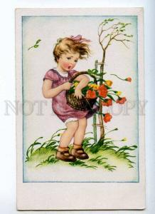 233302 Chaming Girl w/ Flowers WIND Vintage Colorful postcard