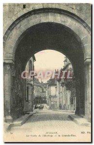 Old Postcard Avallon La Voute Clock and the Grande Rue