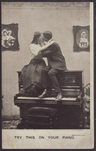 Try This on Your Piano Couple Kissing Postcard