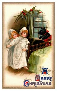 Christmas ,Winsch , Little girle in nighties, holly