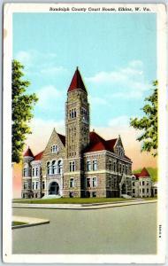 Elkins, West Virginia Postcard RANDOLPH COUNTY COURT HOUSE Street View 1946