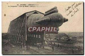 Old Postcard Jet Aviation Zeppelin Airship City of Paris returning to his garage